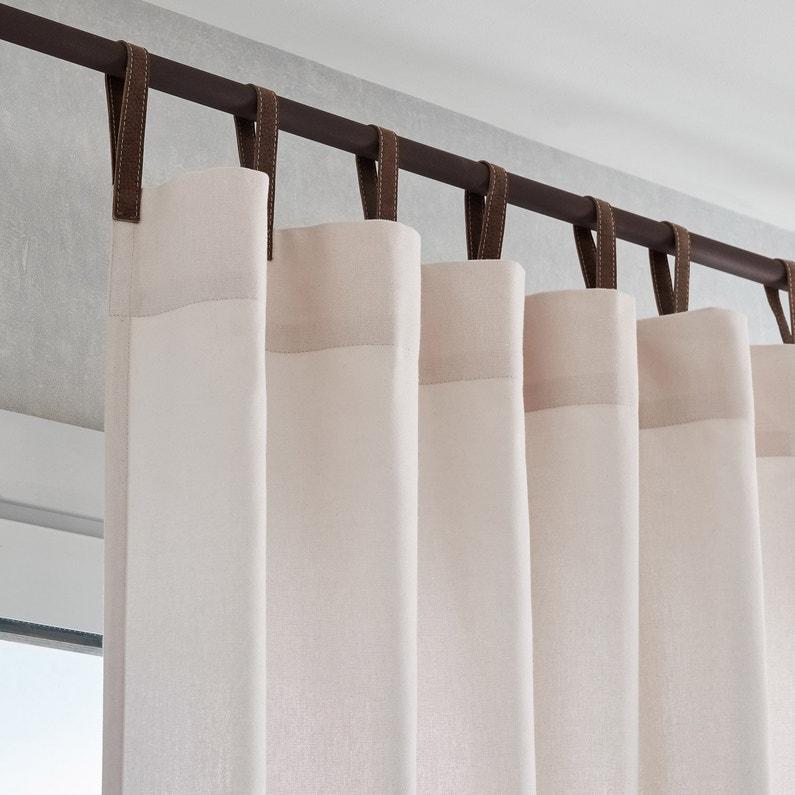 Rideau tamisant, Bao, blanc lanière marron, l.140 x H.260 cm INSPIRE ...