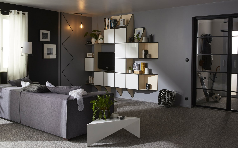 Un salon avec mur de rangement | Leroy Merlin