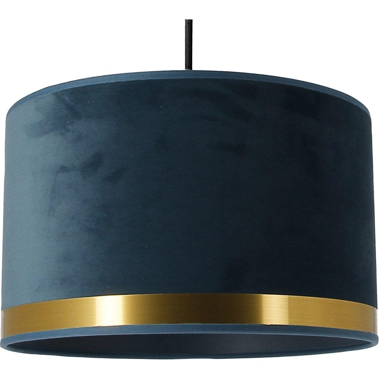 Suspension, E27, Art déco tissu bleu paon/laiton 1 x 60 W METROPOLIGHT