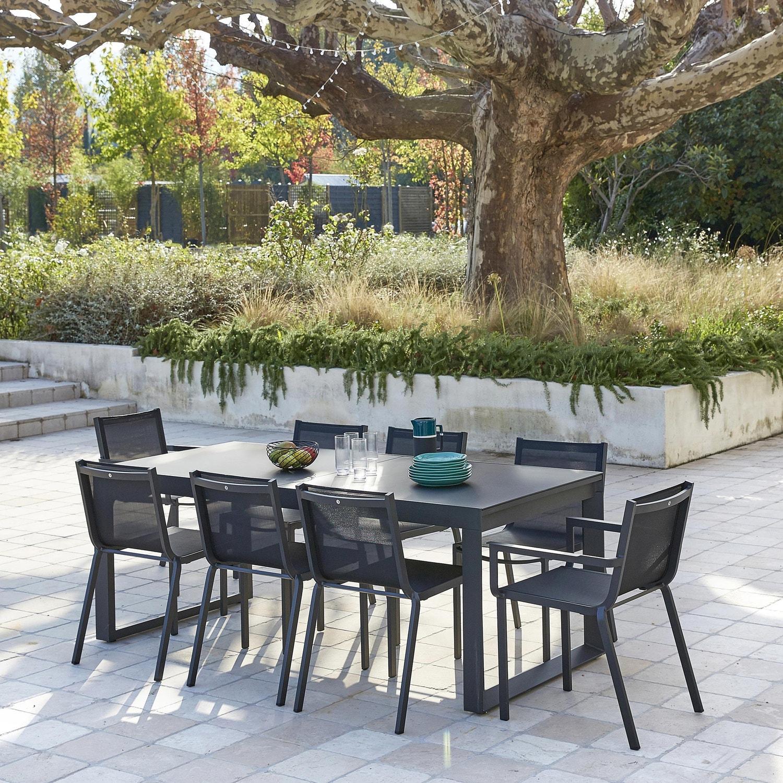 Salon De Jardin Moins De 100 Euros salon de jardin horizon aluminium, 8 personnes