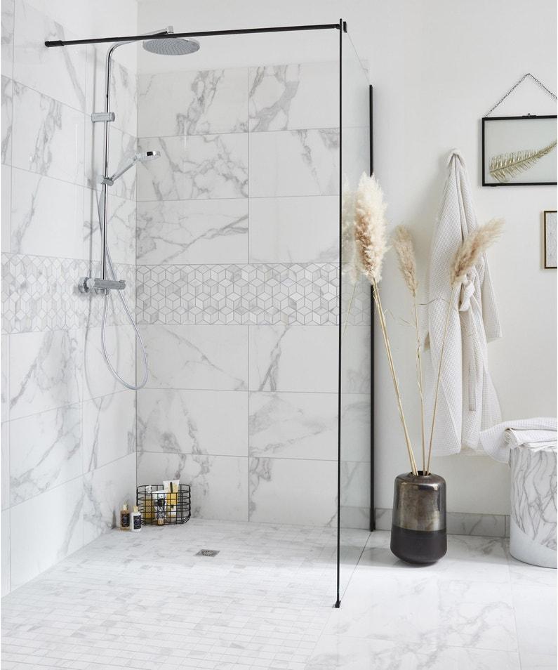 Carrelage Mur Marbre Blanc Carrare Brillant L 30 5 X L 56 Cm Murano