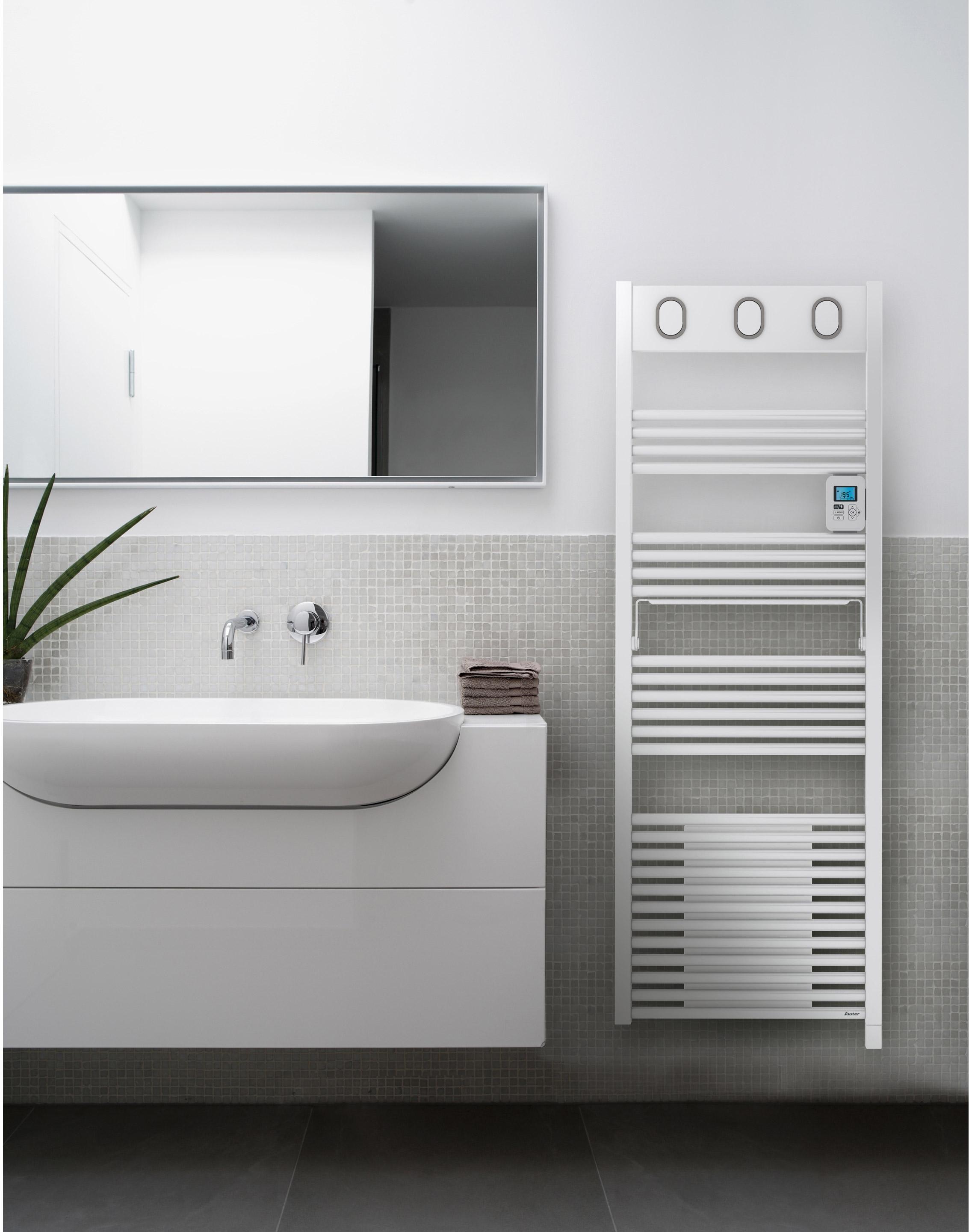 Sèche-serviettes électrique avec soufflerie SAUTER Marapi blanc 750 + 1000W