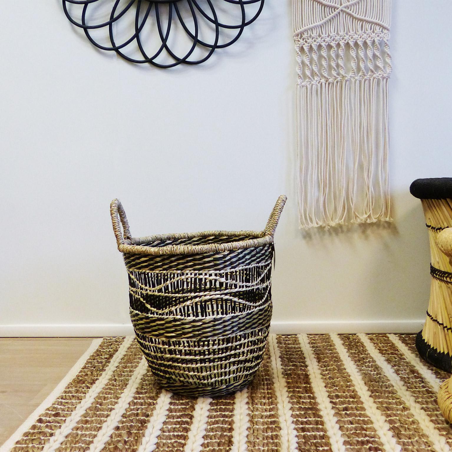 Panière décorative l fibre naturelle Catalyna beige H.38 x l.30 x P.30 cm