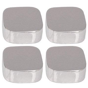 Lot de 4 pattes à glace, carré avec coins arrondis, chromé brillant