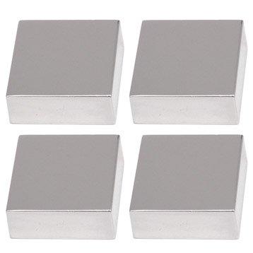 Lot de 4 pattes à glace, carré, chromé brillant
