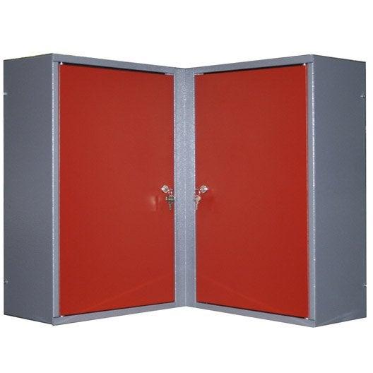 Armoire de rangement pour angle en m tal rouge kupper 60 - Armoire de rangement pour garage ...