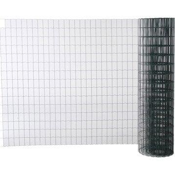 Grillage soudé vert H.1.5 x L.20 m, maille de H.100 x l.63 mm