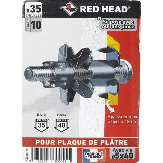 Lot de 35 chevilles vis expansion klix red head diam 8 x mm leroy merlin - Cheville pour plaque de platre ...