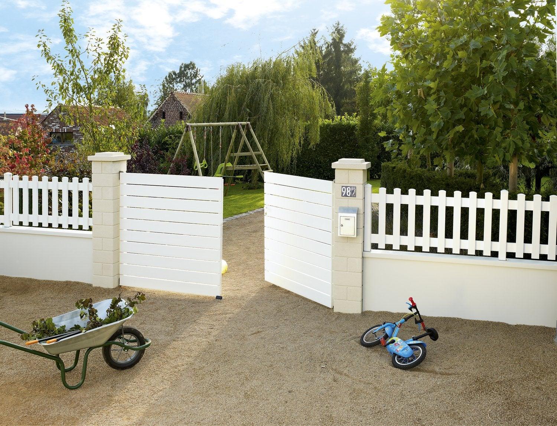 Un tr s chouette portail en acier galvanis leroy merlin for Poignee de portail exterieur