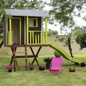 Maisonnette chalet maison cabane enfant leroy merlin - Maison en bois peinte ...