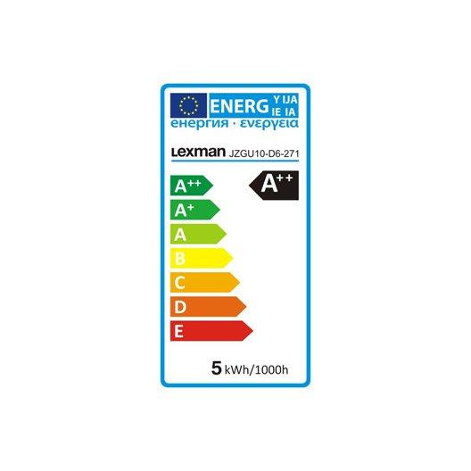 Ampoule réflecteur LED 5W = 450Lm (équiv 50W) GU10 2700K 100° LEXMAN