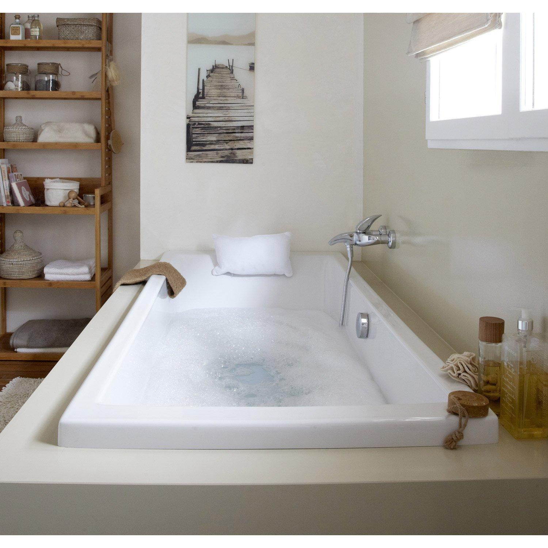 Baignoire Rectangulaire L 180x L 80 Cm Blanc Sensea Premium Design