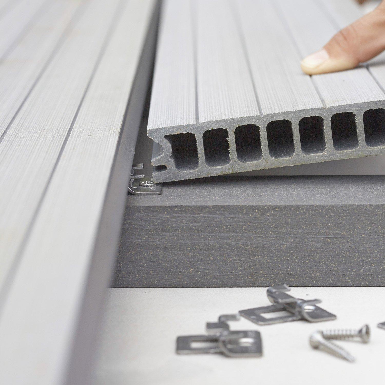 Lambourde pour terrasse composite grafik noir l 2 4 m x l 4 8 cm x mm leroy merlin - Lambourde pour terrasse ...