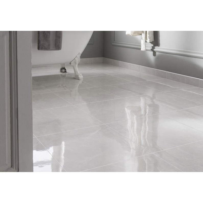 Carrelage Sol Et Mur Forte Effet Marbre Blanc Olympie L 45 X L 45 Cm