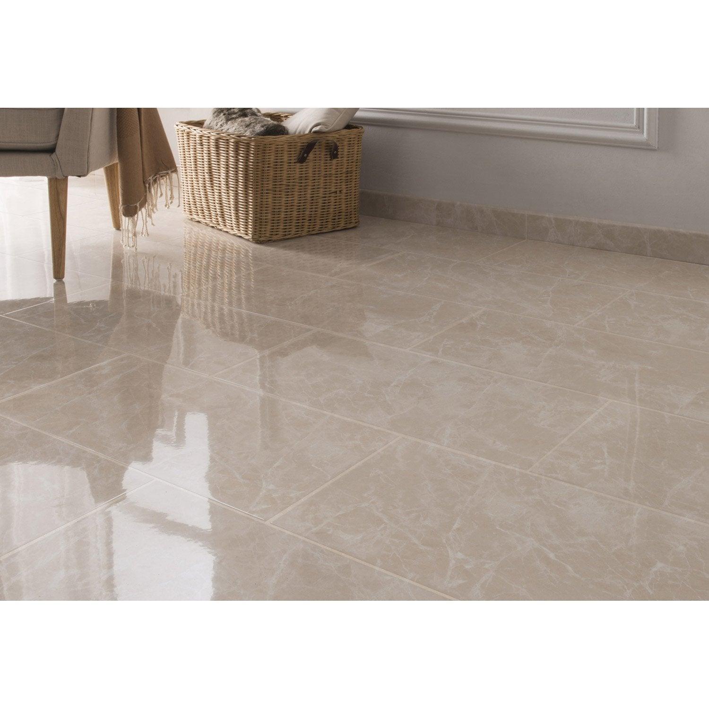 Carrelage sol et mur beige effet marbre olympie x l for Carrelage blanc 40x40