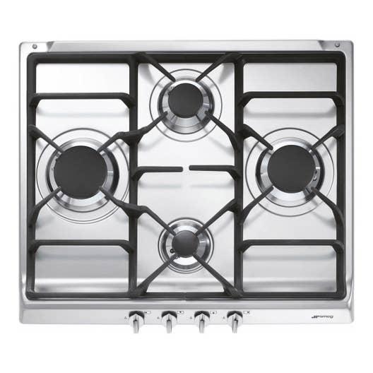 Plaque de cuisson gaz 4 foyers inox smeg s60ghs leroy for Quel plaque de cuisson choisir