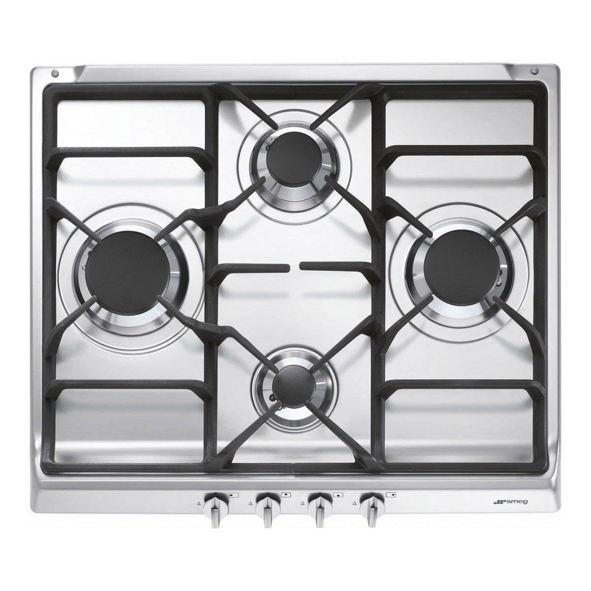 Table De Cuisson Gaz Et Electricite plaque de cuisson gaz 4 foyers, inox, smeg s60ghs