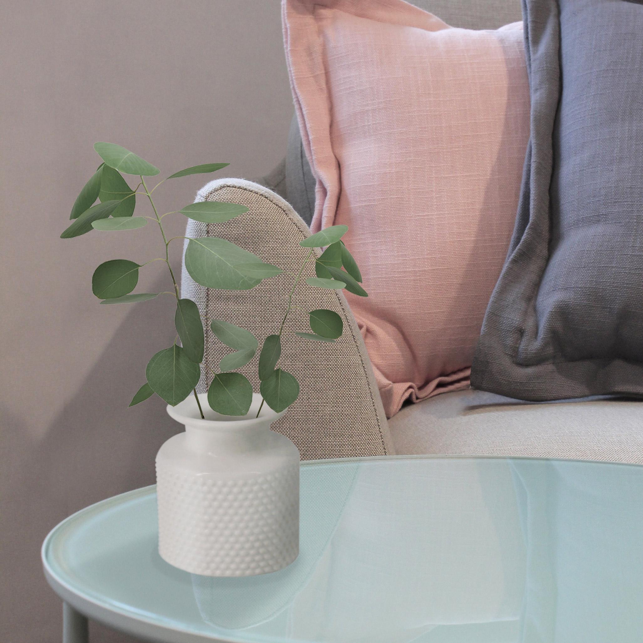 Vase décoratif céramique 3D, blanc l.11 x H.14 cm