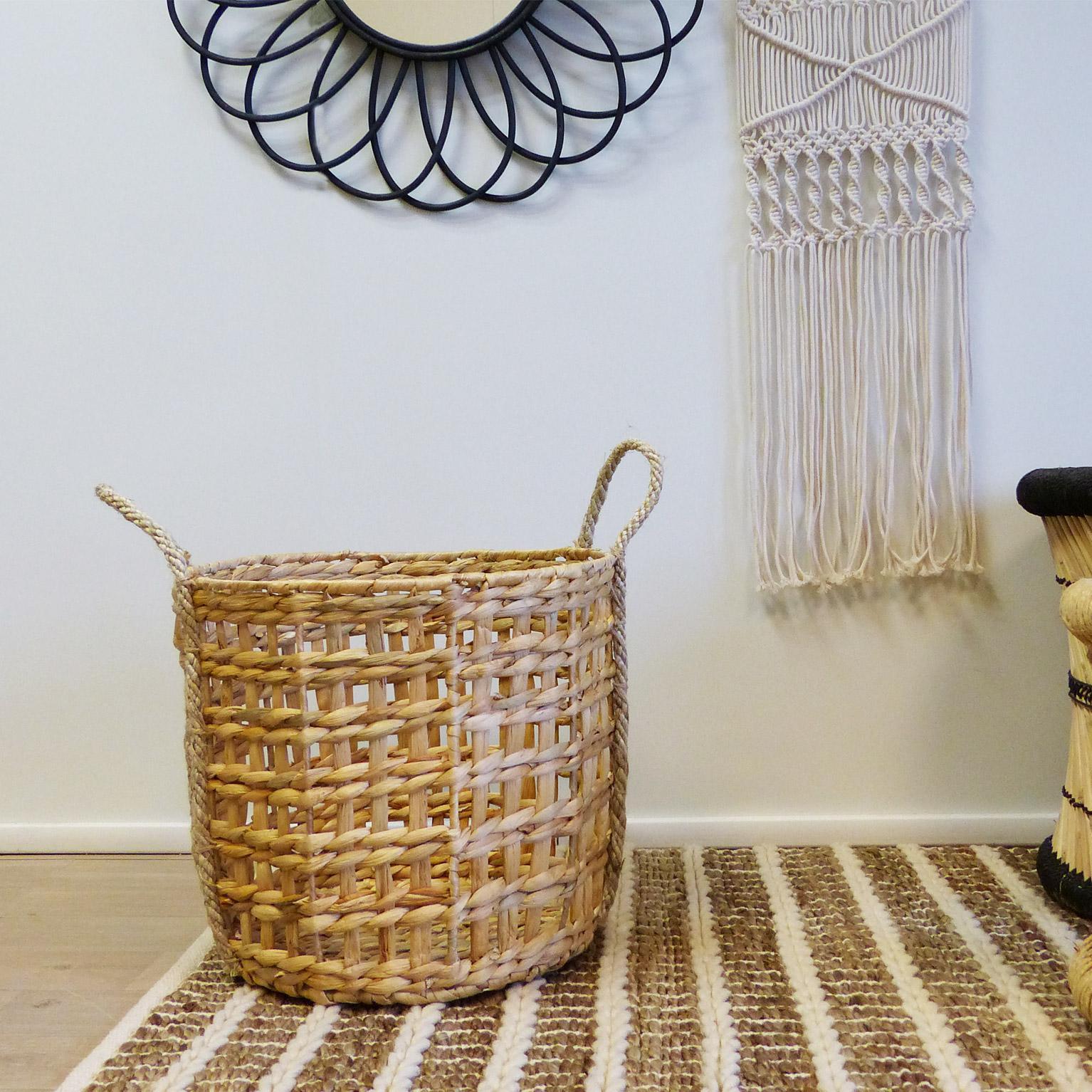 Panière décorative l fibre naturelle Mala beige H.45 x l.45 x P.43 cm
