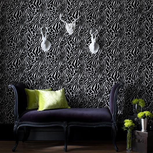 papier peint intiss tiger argent leroy merlin. Black Bedroom Furniture Sets. Home Design Ideas