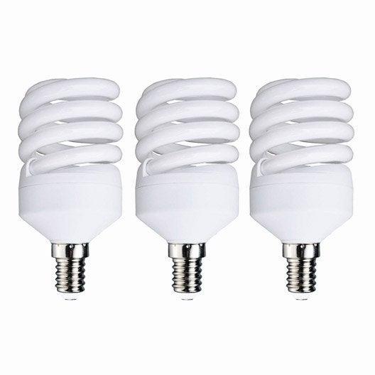 3 ampoules spirales fluorescentes 23w 1398lm quiv 100w e14 6500k lexman leroy merlin. Black Bedroom Furniture Sets. Home Design Ideas