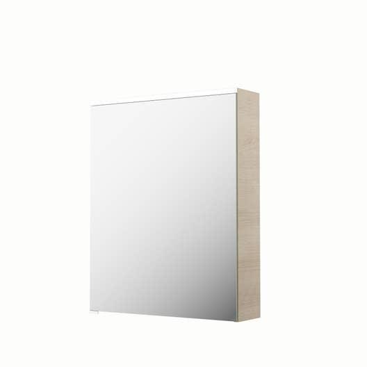 Armoire de toilette lumineuse l 60 cm imitation ch ne naturel sensea neo leroy merlin - Armoire de toilette lumineuse ...