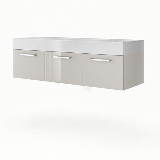 Meuble vasque 135 cm taupe neo line leroy merlin - Meuble salle de bain 135 cm ...