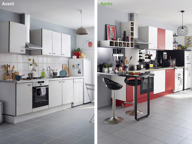 Avant Après Relooker Une Cuisine En H Leroy Merlin - Canapé 3 places pour relooking de cuisine