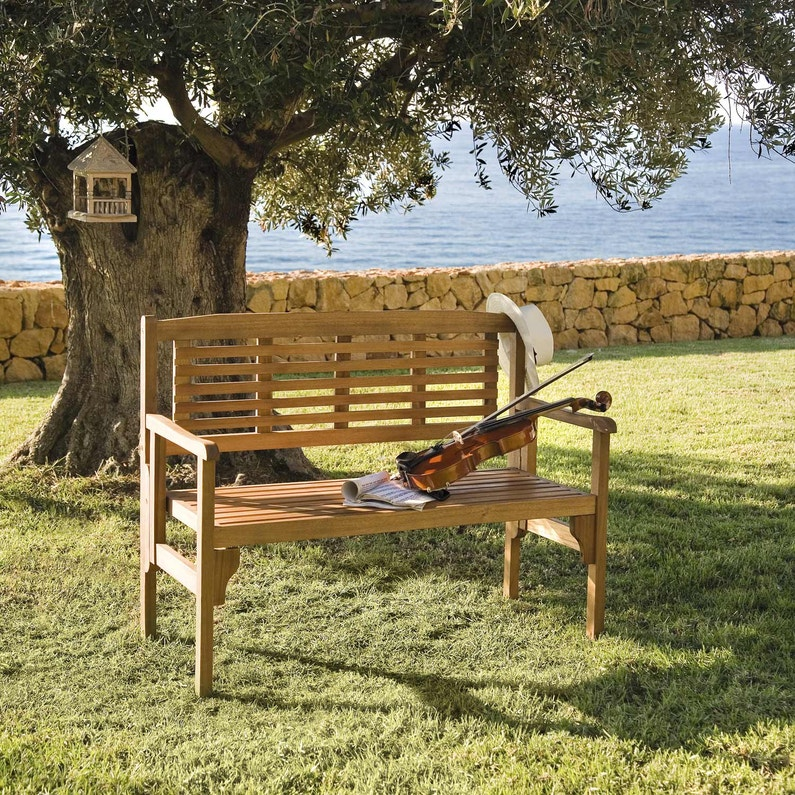 Banc 2 Places De Jardin En Bois Porto Brun Leroy Merlin