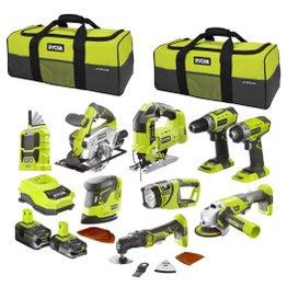Pack 7 outils Ryobi One + 18 V, 2 batteries (5 Ah et 2.5 Ah)