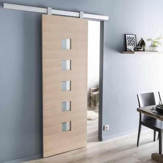 ensemble porte coulissante l o ch ne 93cm rail gota en aluminium leroy merlin. Black Bedroom Furniture Sets. Home Design Ideas