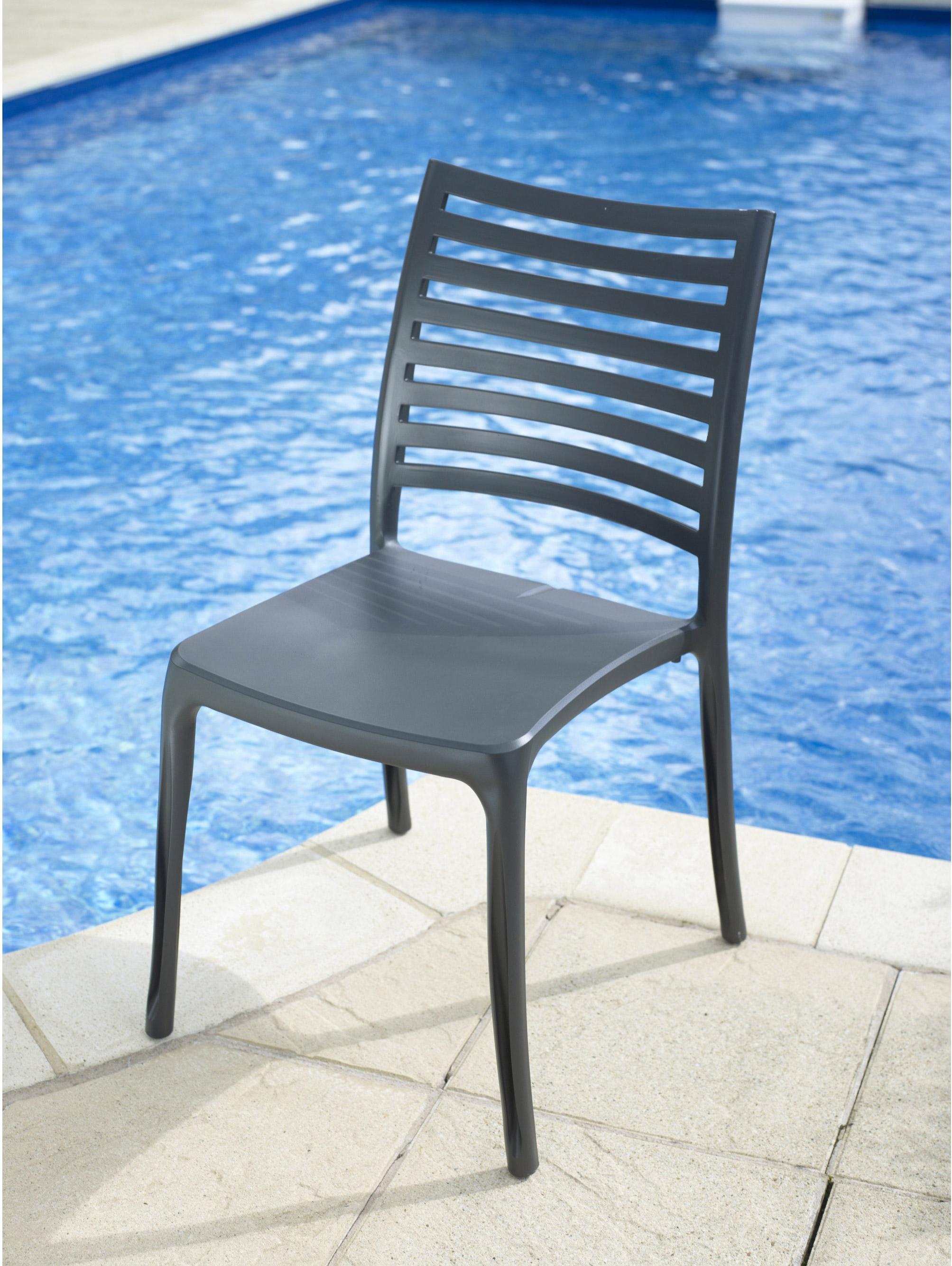 Chaise de jardin en r sine sunday anthracite leroy merlin - Chaise de jardin en resine ...