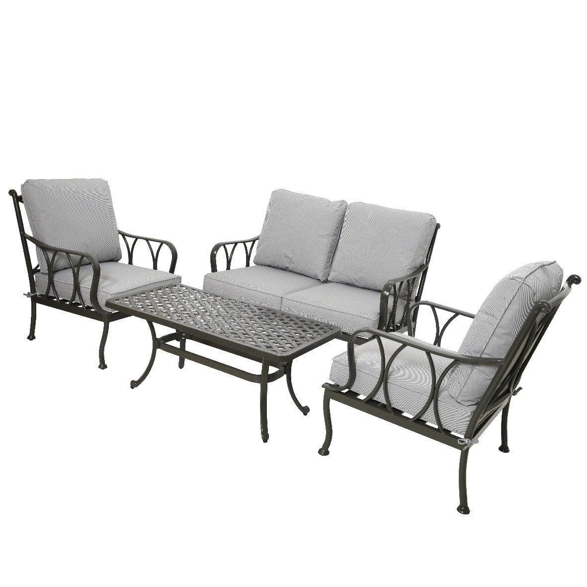 Salon bas de jardin Charleston gris anthracite, 4 personnes