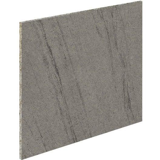 Crédence stratifié Basaltino gris / Basaltino blanc, L.315 x l. 64