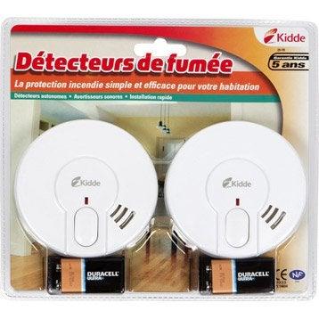 Lot de 2 détecteurs de fumée KIDDE Bi pack 29-fr, 1 an