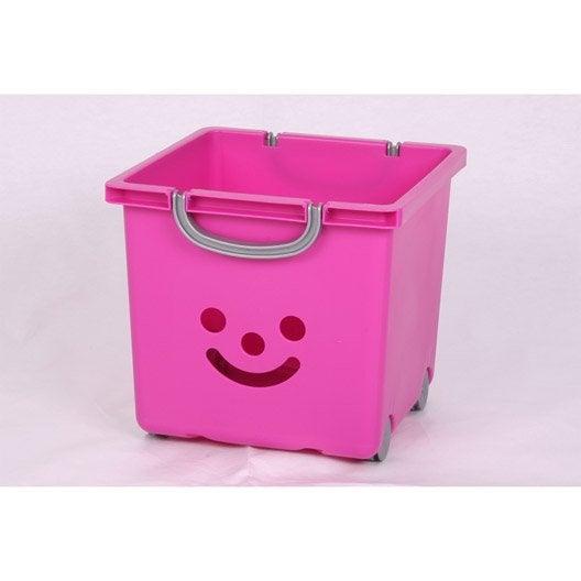 bac de rangement plastique rose clair l33xh29xp32cm leroy merlin. Black Bedroom Furniture Sets. Home Design Ideas