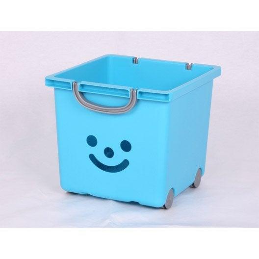 bac de rangement plastique bleu clair l33xh29xp32cm. Black Bedroom Furniture Sets. Home Design Ideas