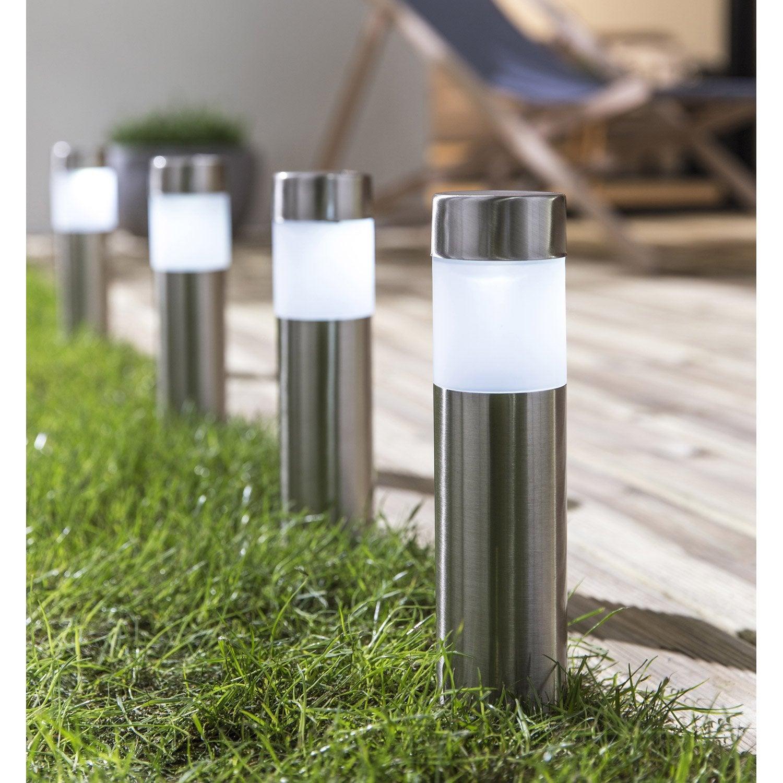 Lot de 4 balises solaire praia acier inspire leroy merlin - Lampe solaire jardin leroy merlin ...