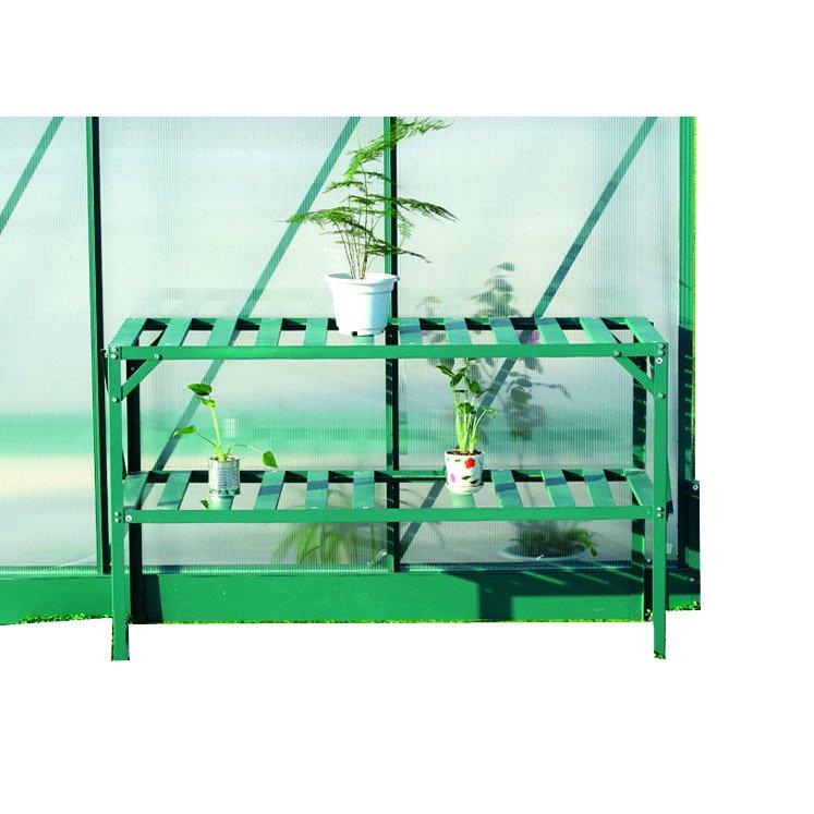 Etagère pour serre de jardin en aluminium à 2 niveaux HABRITA 126x50xH75 cm