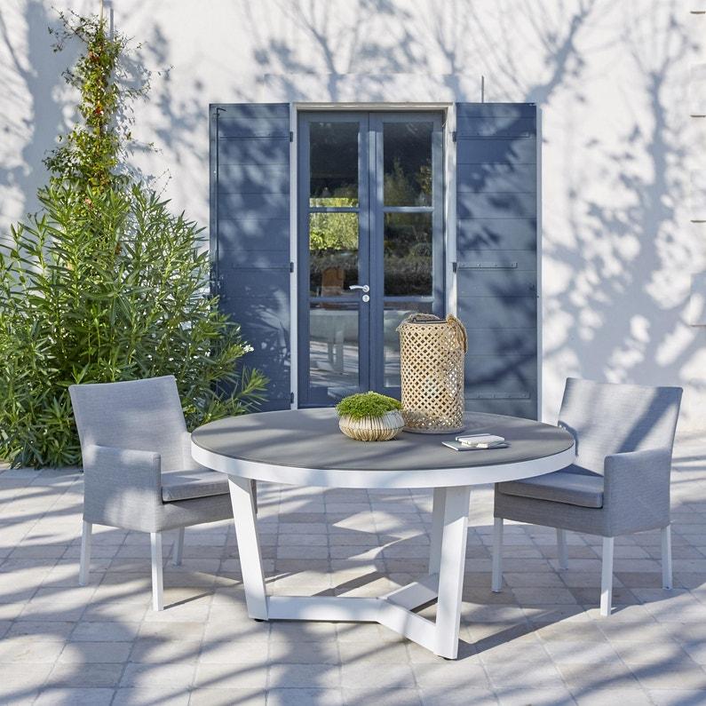 Table de jardin de repas Iraklia ronde blanc / gris 4/6 personnes