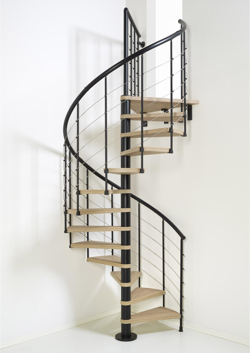 Barriere Escalier En Colimaçon escalier colimaçon rond révers. acier noir ring tube 12 mar. orme clair,  ⌀118 cm