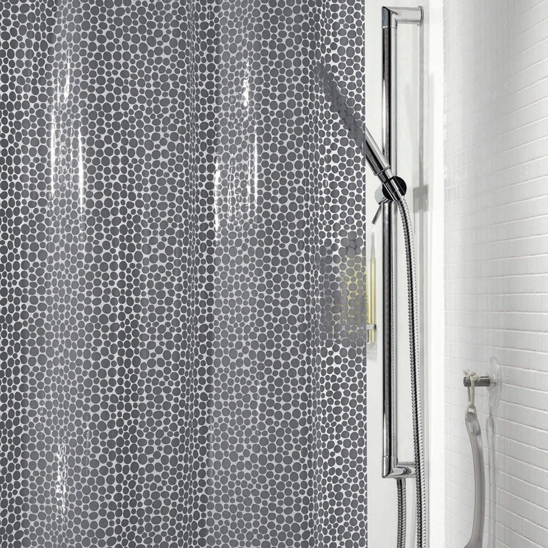Rideau de douche en plastique l.180 x H.200 cm gris, Gorron SENSEA ...