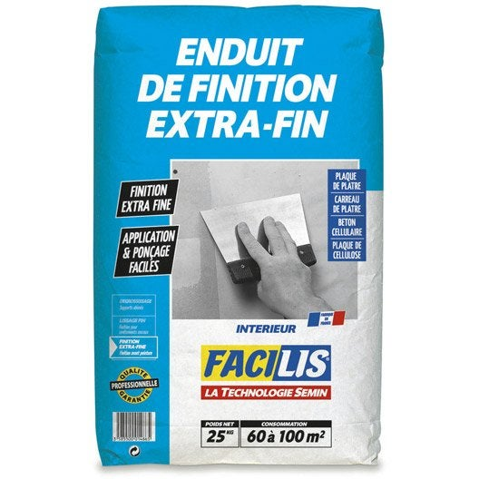 Enduit de finition extra fin facilis 25 kg leroy merlin for Enduit de finition exterieur