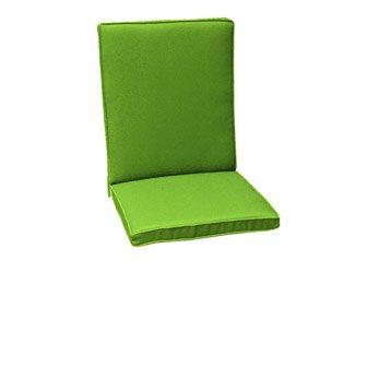 Coussin d'assise et dossier de chaise ou fauteuil NATERIAL Laura, uni vert