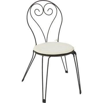 Coussin et pouf d 39 ext rieur salon de jardin table et - Chaise blanc d ivoire ...