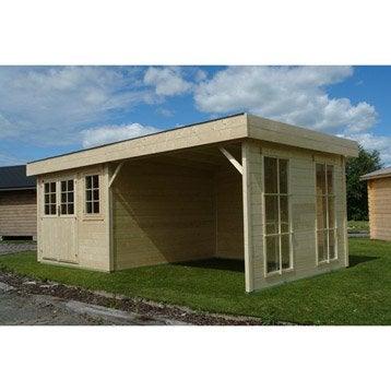 Abri bois Lounge, 15.82 m² Ep.28 mm