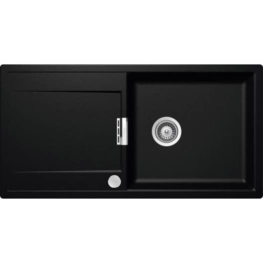 evier encastrer quartz et r sine noir mono 1 grand bac avec gouttoir leroy merlin. Black Bedroom Furniture Sets. Home Design Ideas