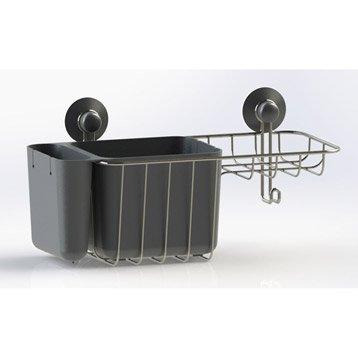 Etagère de bain / douche à ventouser, gris zingué n°1, Modulo