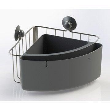 Panier de bain / douche à ventouser, gris zingué n°1, Modulo