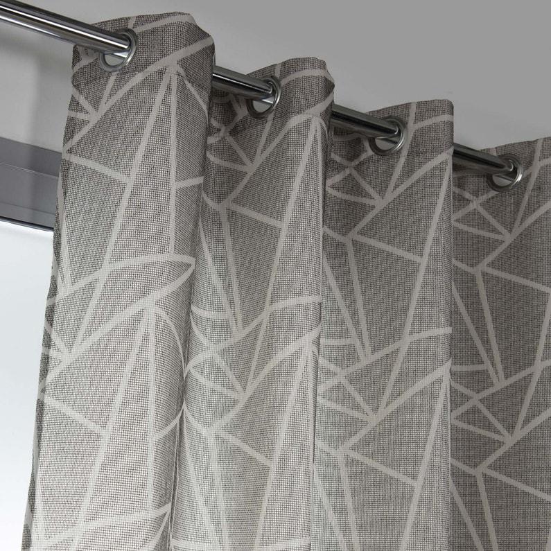 Rideau tamisant, Tango, gris/blanc, l.140 x H.250 cm | Leroy Merlin